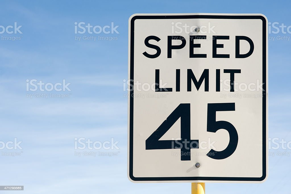 Forty Five 45 Miles Per Hour Speed Limit Sign stock photo