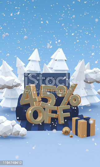 1166441358 istock photo 45 forty five percent off - 3d illustration with copy space in cartoon style. Christmas discount, winter sale concept. 1194749412