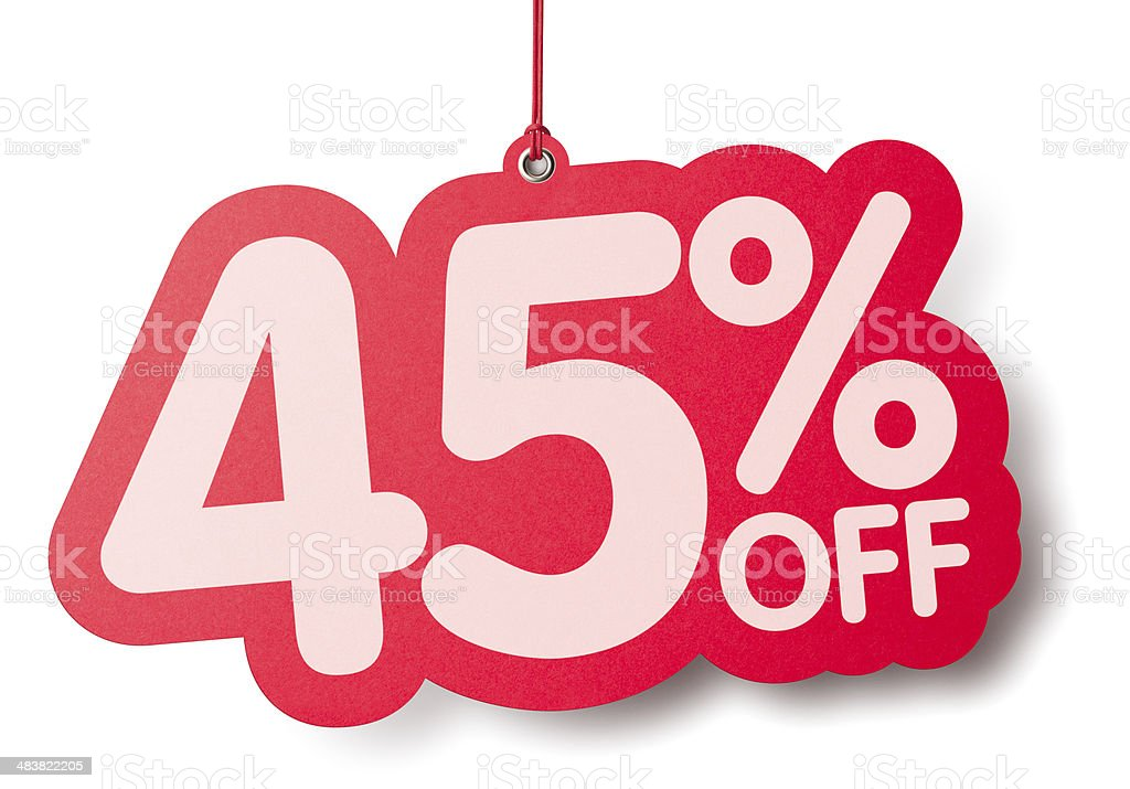 Forty five percent off shaped price label stock photo