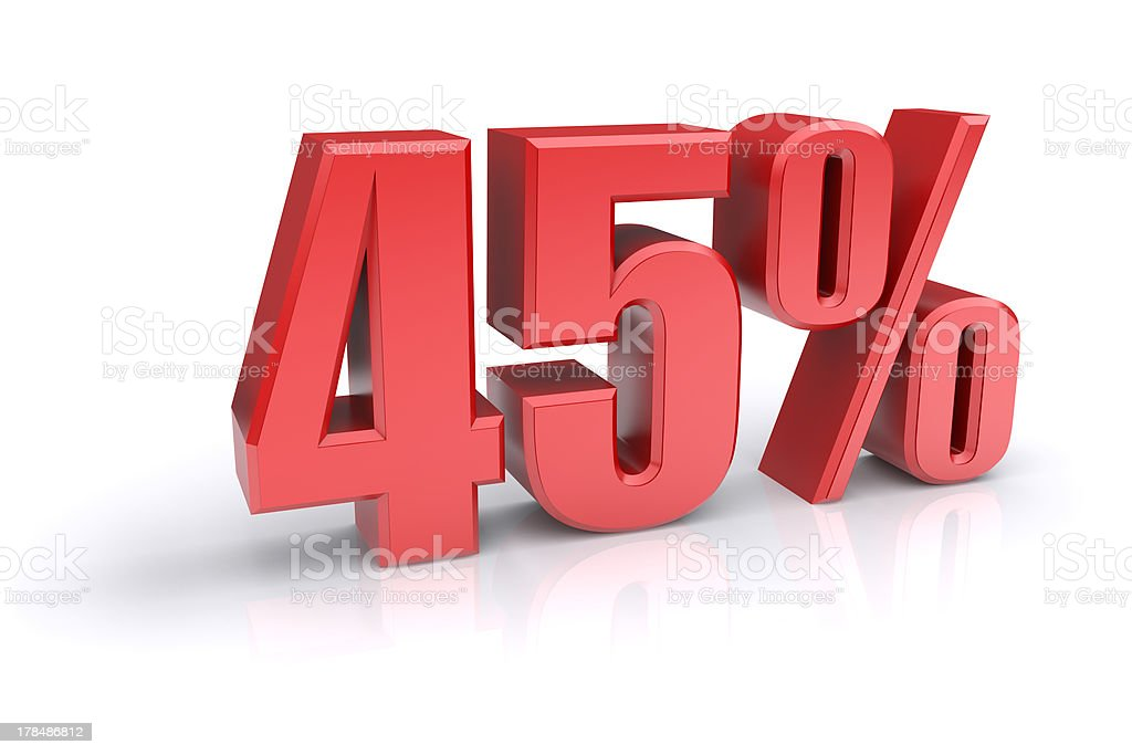 Forty five percent sign stock photo