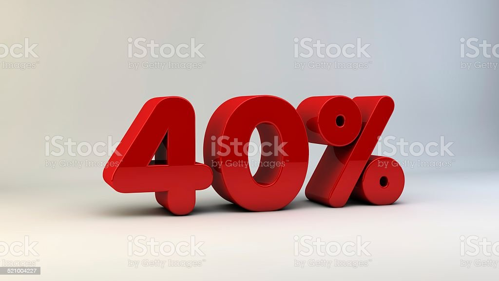 Forty Percent 40% stock photo