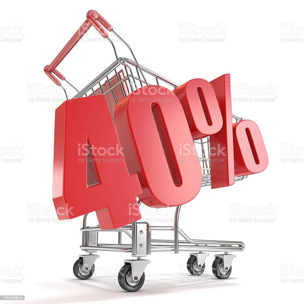 40% - forty percent discount in front of shopping cart stock photo