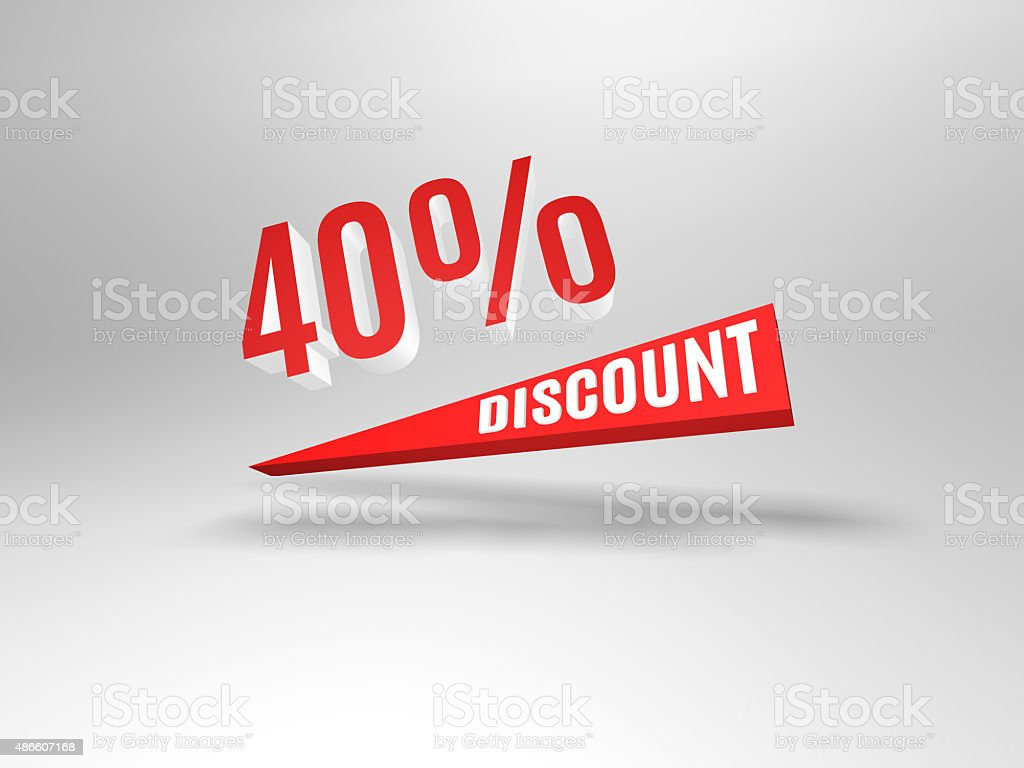 Forty percent discount symbol. stock photo