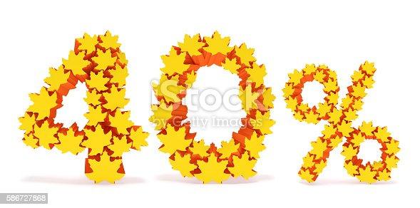 istock Forty percent off (40% discount price). Autumn sale season 586727868