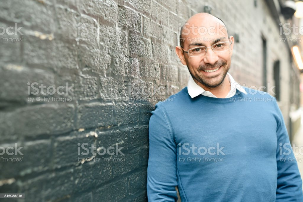 Forty something hispanic man stock photo