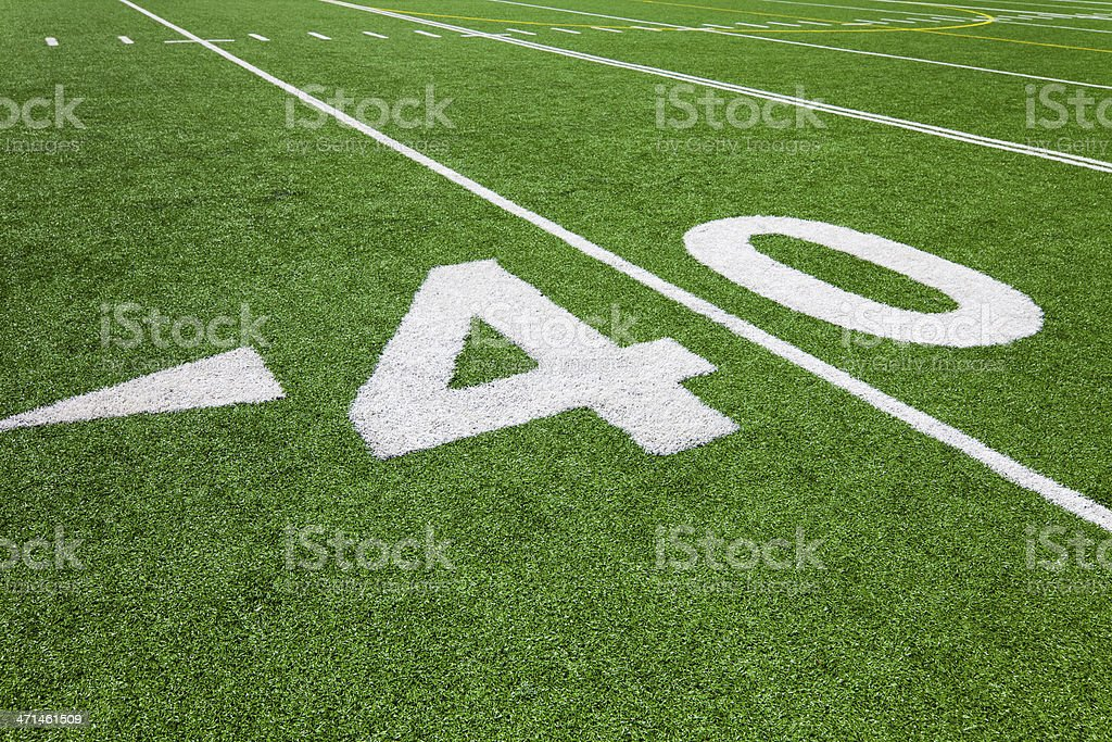 forty yard line - football stock photo