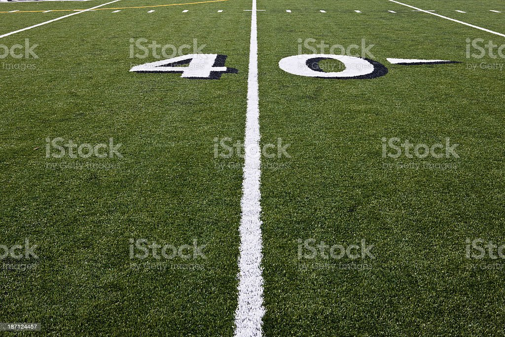 Forty Yard Line on Football Field royalty-free stock photo