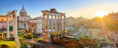 Forum in Rome, Italy. Roman Forum (Foro Romano) at sunset.Rome architecture and landmark. Ancient Forum in Rome is one of the main attractions of Rome and Italy.