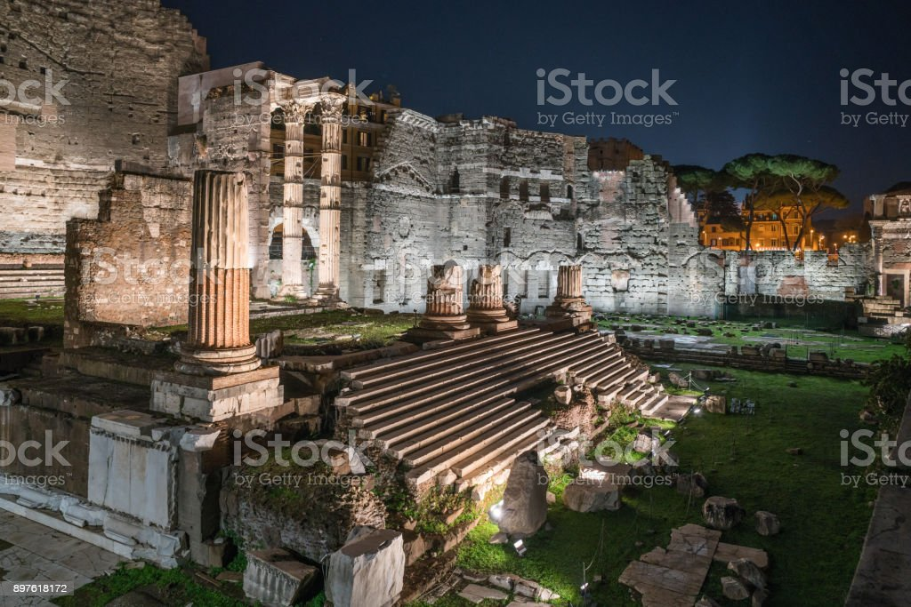 Forum of Augustus at night in Rome, Italy stock photo