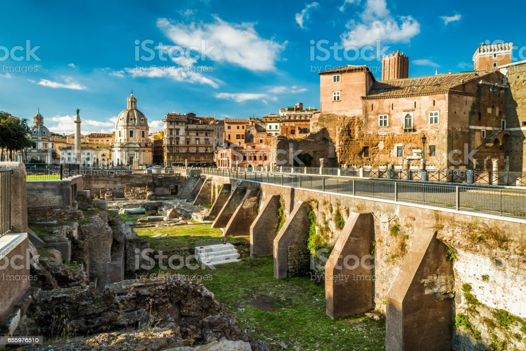 Forum of Augustus near Roman Forum in Rome stock photo