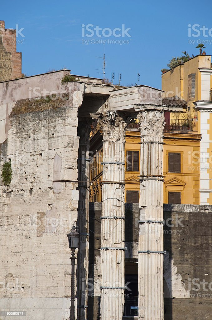 Forum of Augustus with the temple of Mars Ultor. Rome. stock photo
