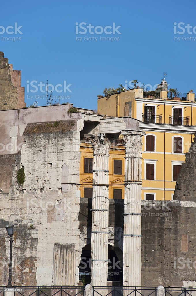Forum of Augustus with the temple of Mars Ultor.Rome, Italy. stock photo