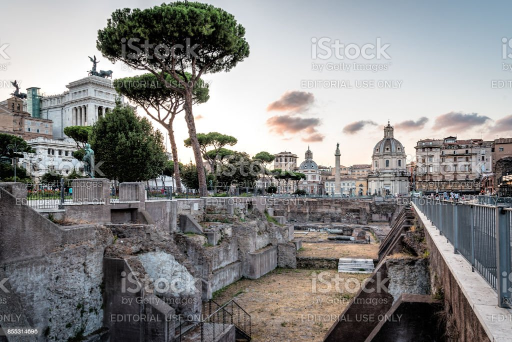 Forum of Trajan in Rome at sunset stock photo