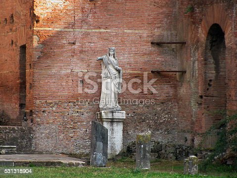 Statue in the House of Vestal Virgins in the Forum Romanum, Rome, Italy.