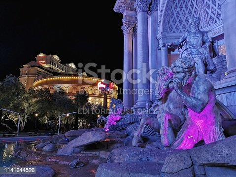 Las Vegas, USA - October 16, 2018: front of Forum Shops at Caesars. This is a major shopping mall connected to Caesars Palace on the Las Vegas Strip