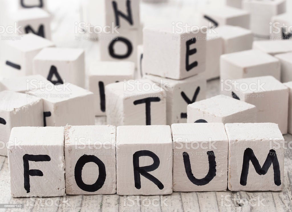 Forum word made of wooden letters stock photo