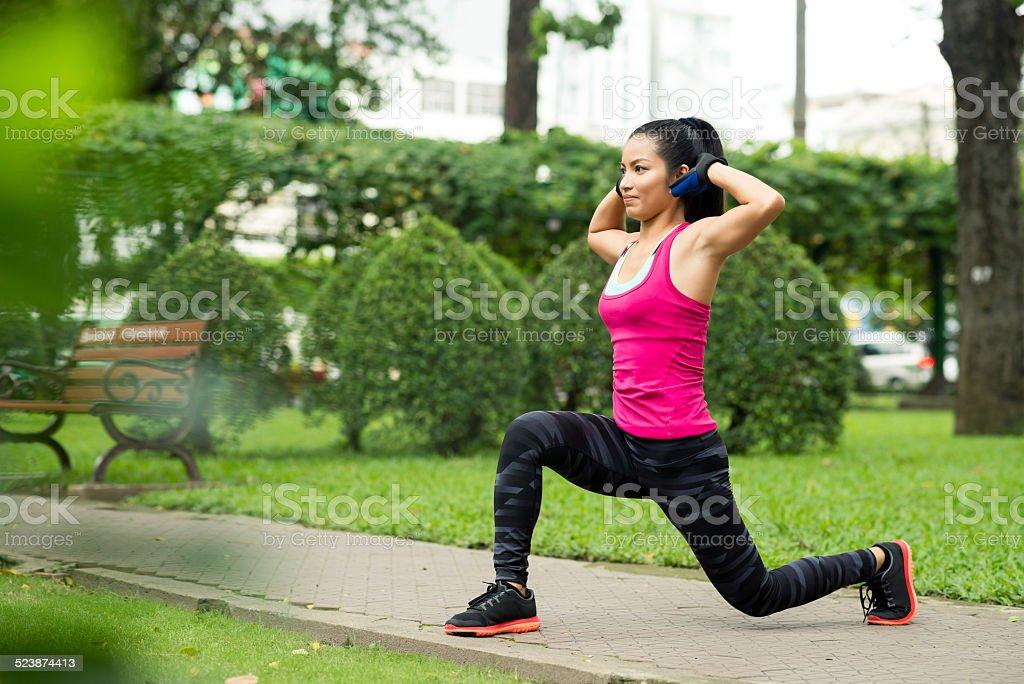 Forward lunge stock photo