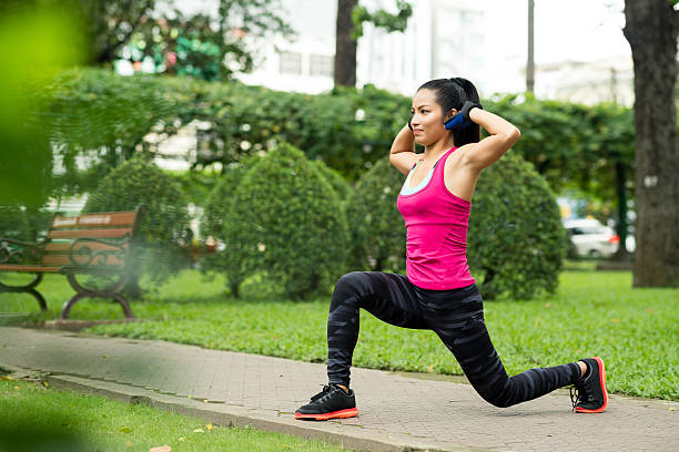 forward lunge - lunge stock photos and pictures