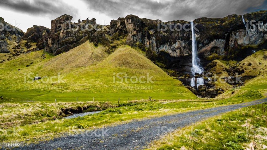 Foss a Sidu waterfall, Iceland стоковое фото