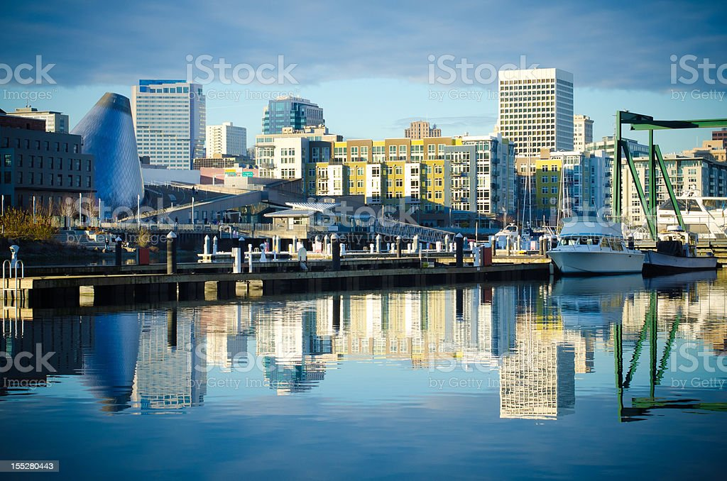Foss Waterway with buildings and skyline in Tacoma, WA stock photo