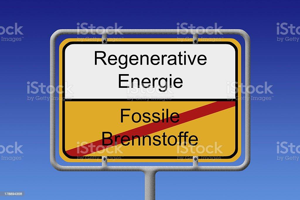 Fossile Brennstoffe regenerative energie ortsschild - Fossil fue stock photo
