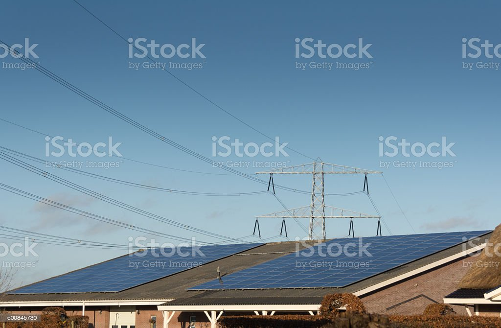 Fossile or solar energy? stock photo