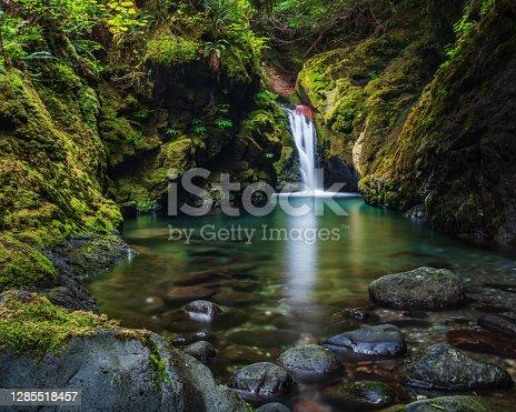 Waterfall in the Fossli Provincial Park near Port Alberni Vancouver Island.