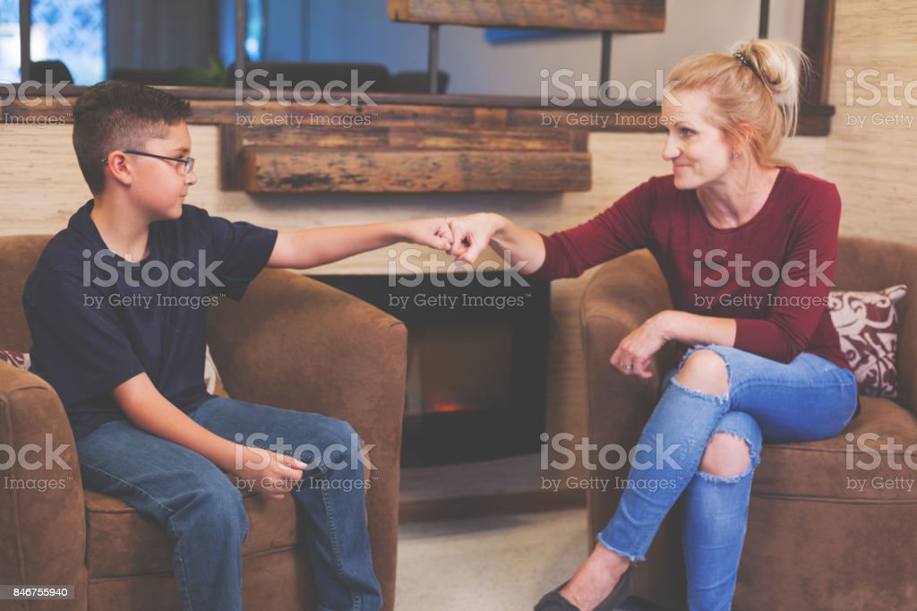 Foster Care Woman and Boy Child Talking royalty-free stock photo