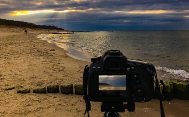 & bin meer langzeitbelichtung der ostsee kamera - dokumentation stock-fotos und bilder