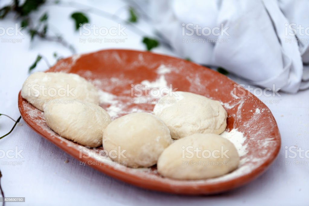 fouace doughs, a round and airy bread from the western France stock photo