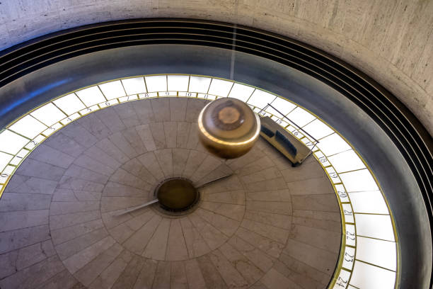 foucault pendulum at griffith observatory - los angeles, california, usa - pendulum stock photos and pictures