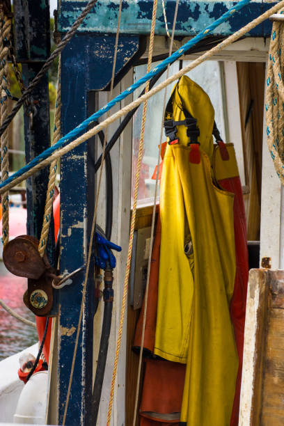 Foul Weather Gear, Harkers Island, NC stock photo