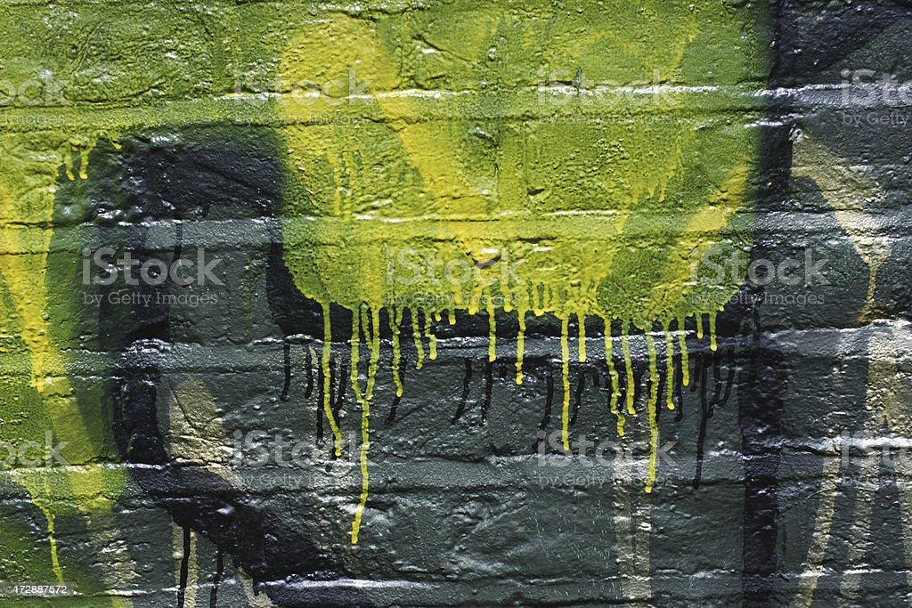 Green yellow graffiti dripping on wall grunge pattern stock photo