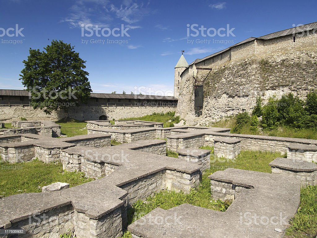 Foundation and wall of castle royalty-free stock photo