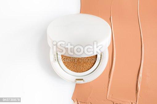 istock Foundation cushion on white background. 943735878