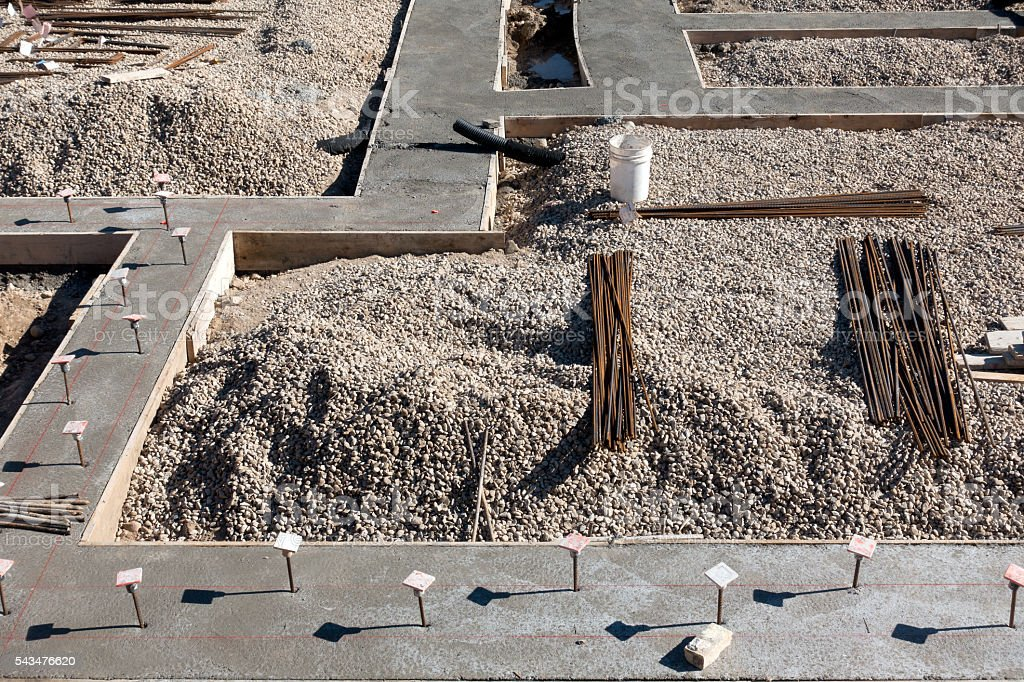 Foundation Footings and Rebar stock photo