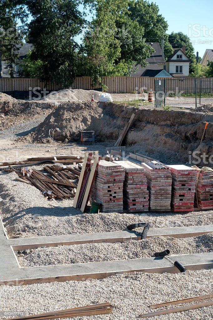 Foundation Footings, Forms, and Rebar stock photo