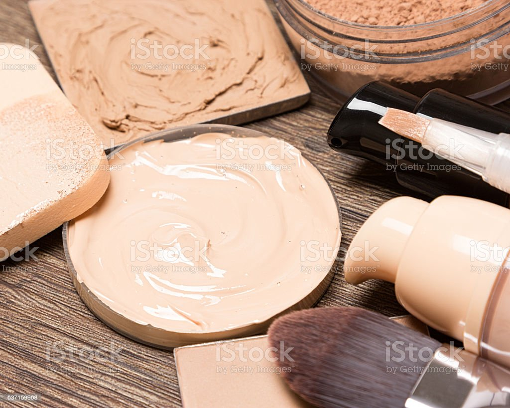 Foundation makeup products stock photo
