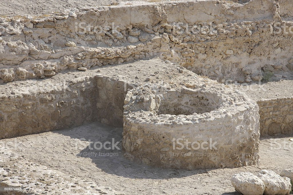 Foundation remains of possibly a tower in Bahrain fort royalty-free stock photo