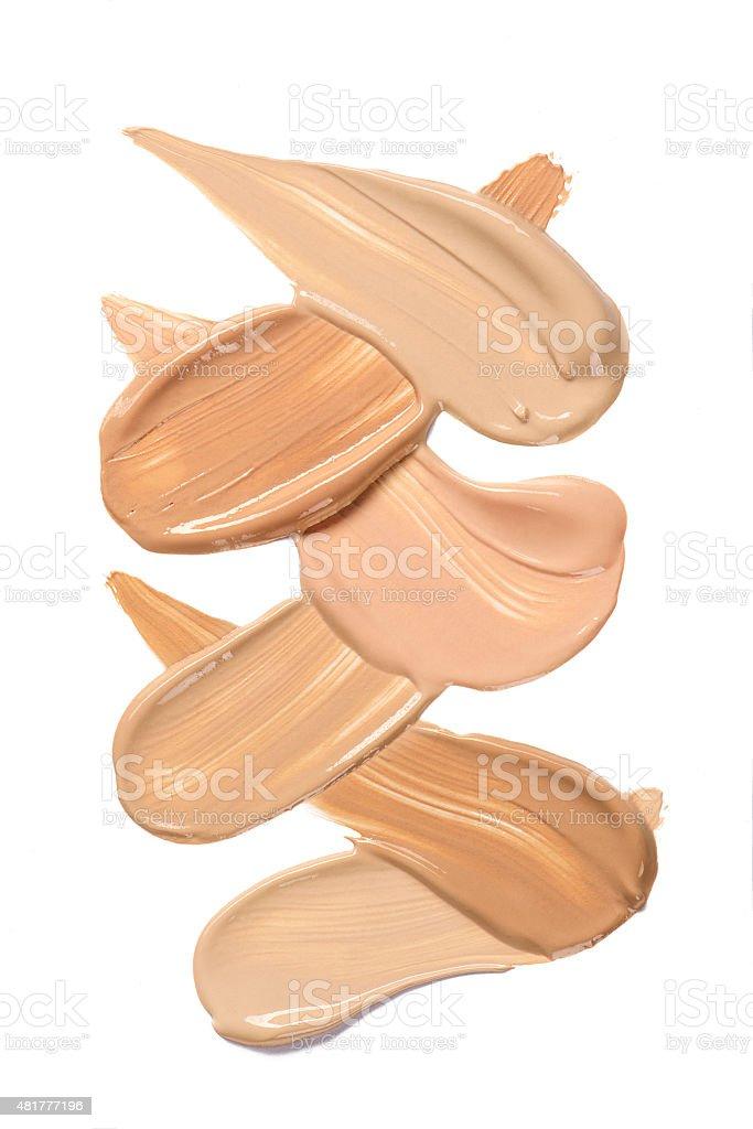 Foundation smudges range of colors stock photo
