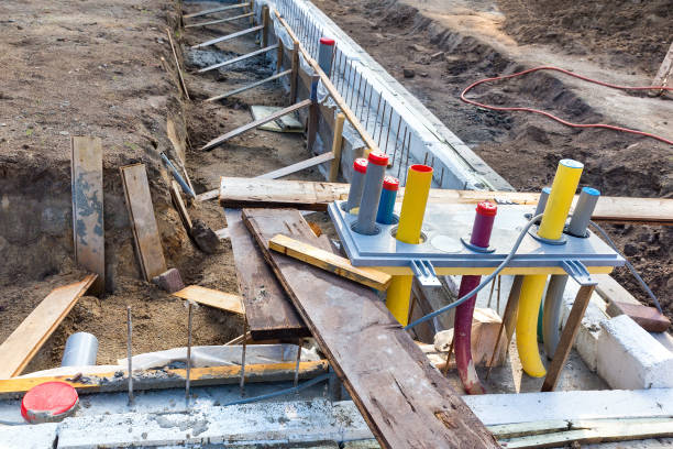 Foundation with pipes on construction site stock photo