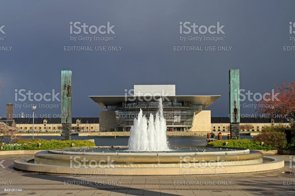 fountain against the background of Copenhagen Opera House stock photo