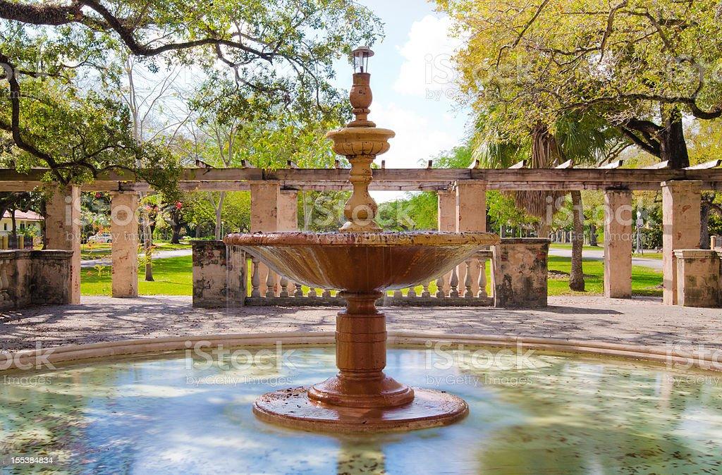Fountain along Country Club Prado in Coral Gables, FL stock photo