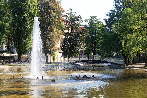 Fountain and bridge in park Giardini Pubblici in Trento, Italy