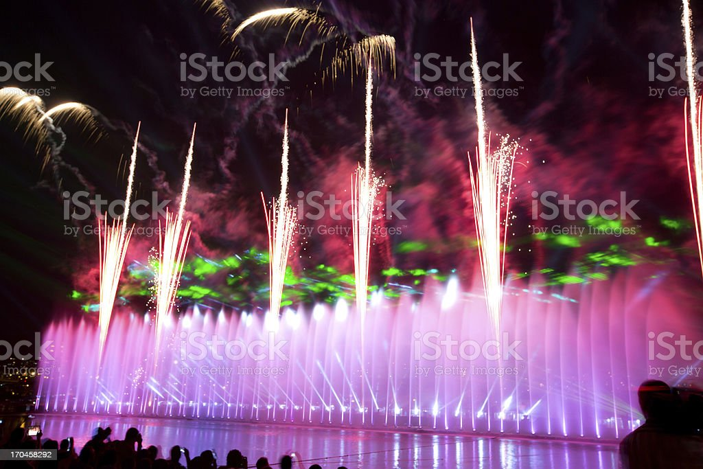 fountain and fireworks show royalty-free stock photo