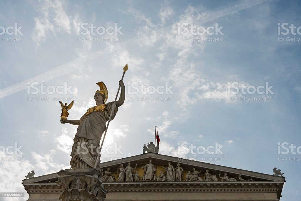 Fountain and frieze of the Austrian Parliament Building in Vienna stock photo