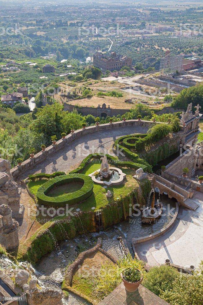 Fountain And Garden In Tivoli Rome Italy Stock Photo Download