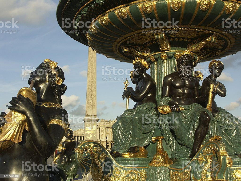 Fountain and obelisk in Concord place (Paris) royalty-free stock photo