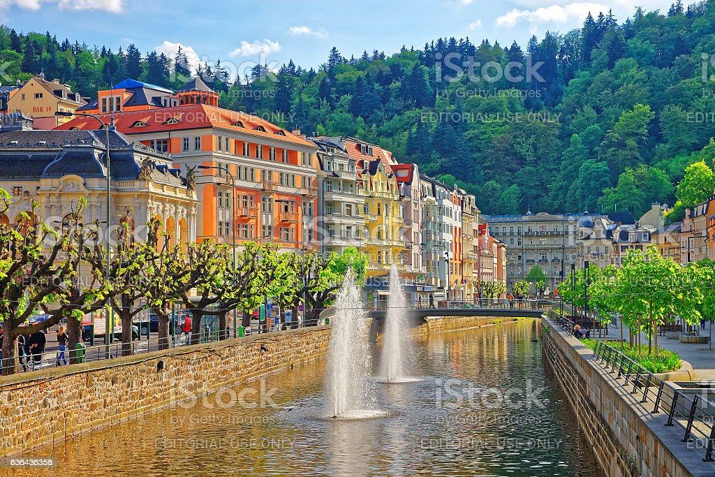 Fountain and Opera House and Promenade in Karlovy Vary stock photo