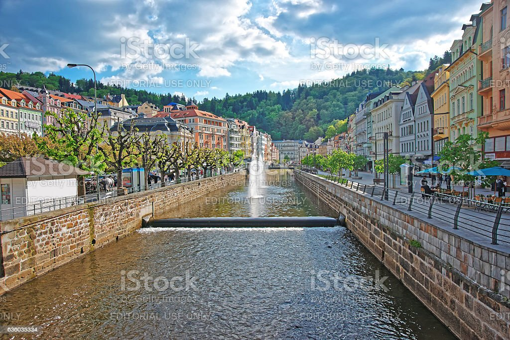 Fountain and Opera House and Promenade of Karlovy Vary stock photo